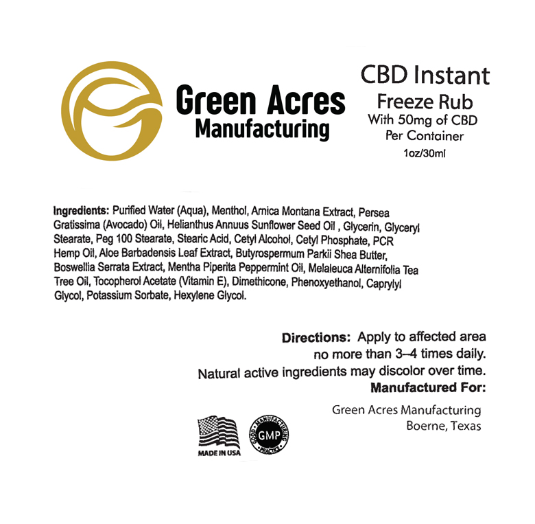 CBD Instant Freeze Pain Rub | Green Acres Manufacturing