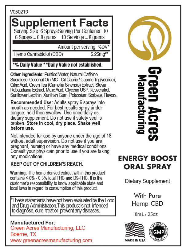 CBD Oral Spray Energy Boost | Green Acres Manufacturing