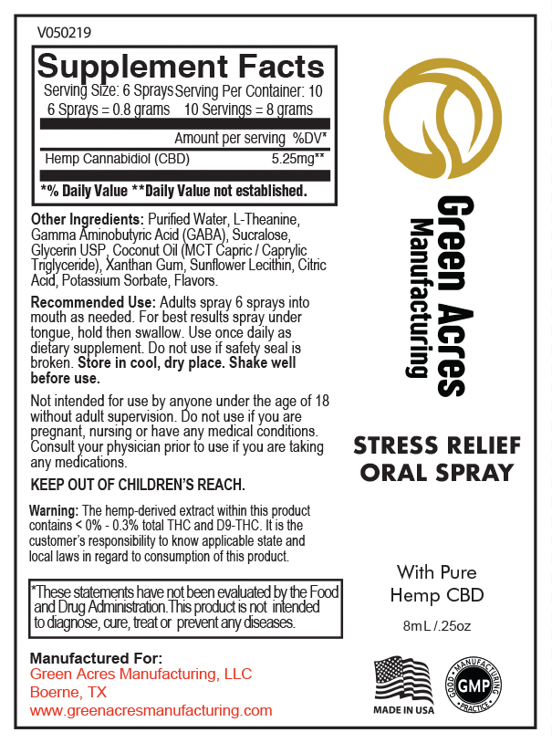 CBD Oral Spray Stress Relief | Green Acres Manufacturing